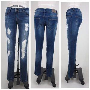 Zara Trafaluc TRF Destroyed Low Rise Jeans 4 26